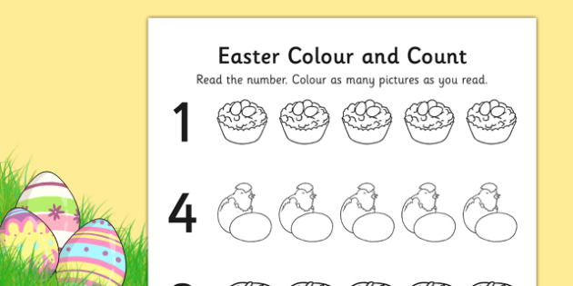 Easter Themed Count and Colour Sheet - colour, sheet, easter