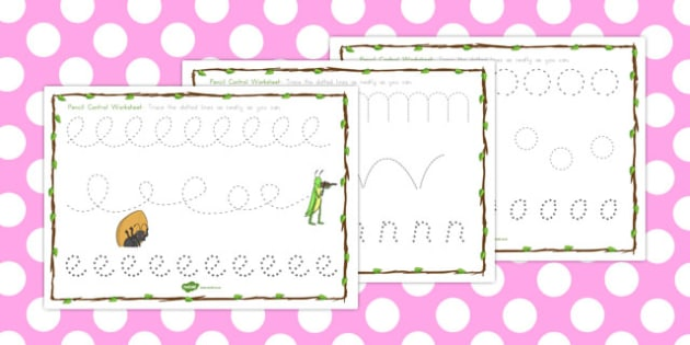 The Ant and the Grasshopper Pencil Control Sheets - motor, skills