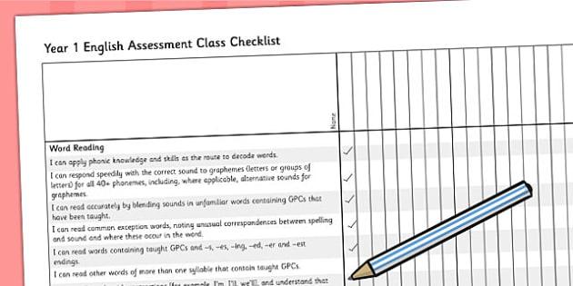 2014 Curriculum Year 1 English Assessment Class Checklist - KS1