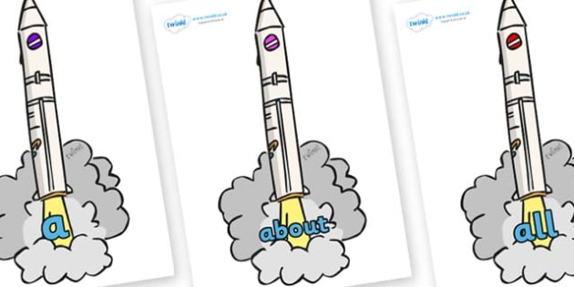 100 High Frequency Words on Launching Rockets - High frequency words, hfw, DfES Letters and Sounds, Letters and Sounds, display words