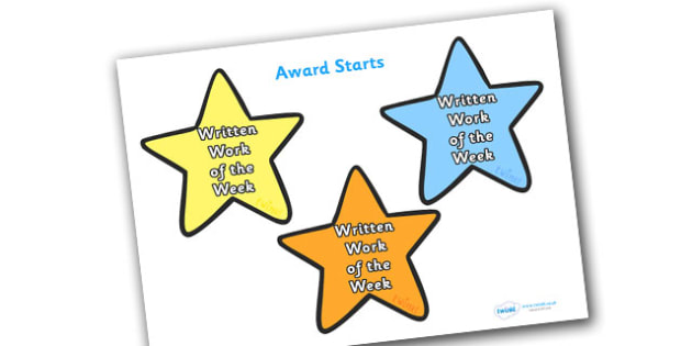 Written Work of the Week Award Star - written work of the week award star, work of the week, work, week, written, star, stars, certificates, award, well done, reward, medal, rewards, school, general, certificate, achievement
