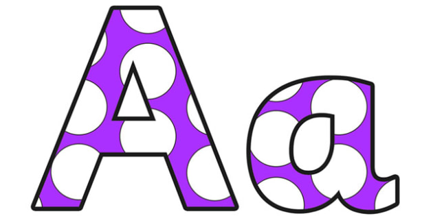 Purple and White Spots Small Lowercase Display Lettering - display lettering