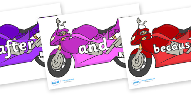 Connectives on Motorbikes - Connectives, VCOP, connective resources, connectives display words, connective displays