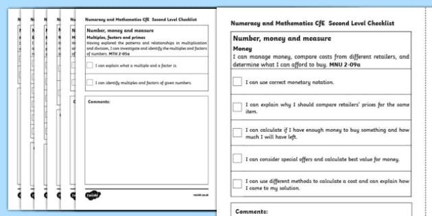 R8362 CfE Second Level Numeracy and Mathematics Checklist-Scottish