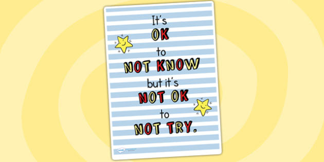 Its OK to Not Know Classroom Inspiration Poster - inspiration