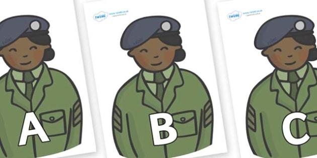 A-Z Alphabet on Sargeants - A-Z, A4, display, Alphabet frieze, Display letters, Letter posters, A-Z letters, Alphabet flashcards