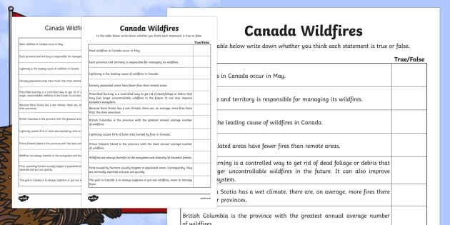 Alberta's Wildfire Canadas Wildfires True or False - Canada, natural disaster, wild, fire, burn, damage, destruction, hot, dry,