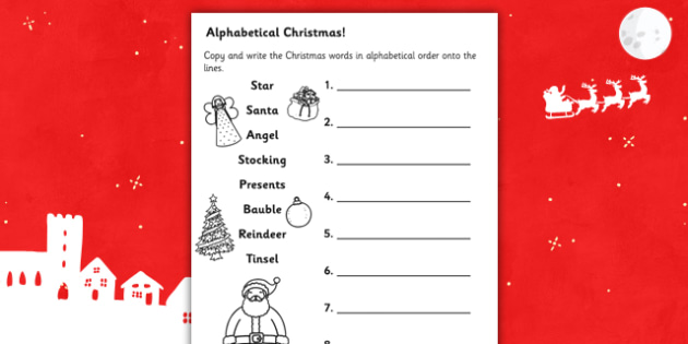 Christmas Words in Alphabetical Order Worksheet - christmas, christmas words, keywords, alphabetical order, alphabet, worksheet, christmas worksheet