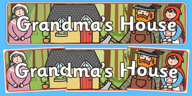 Little Red Riding Hood Grandma's House Display Banner - little red riding hood, grandmas house