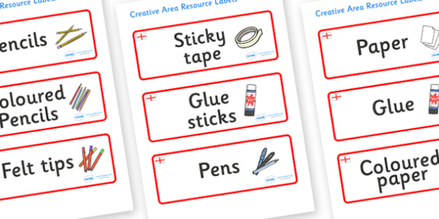 England Themed Editable Creative Area Resource Labels - Themed creative resource labels, Label template, Resource Label, Name Labels, Editable Labels, Drawer Labels, KS1 Labels, Foundation Labels, Foundation Stage Labels