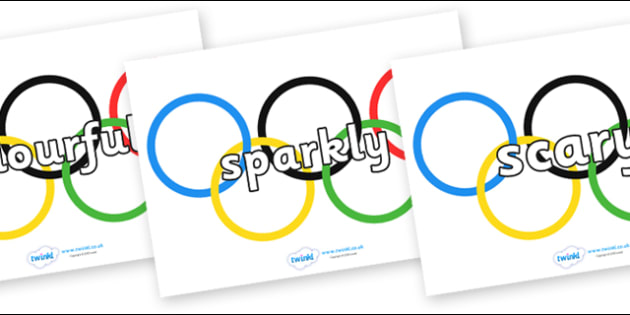 Wow Words on Olympic Rings - Wow words, adjectives, VCOP, describing, Wow, display, poster, wow display, tasty, scary, ugly, beautiful, colourful sharp, bouncy