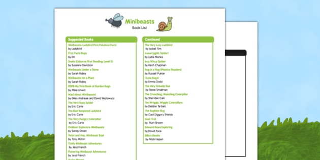 Minibeasts Book List - creatures, bugs, animals, insects, nature, science, reading