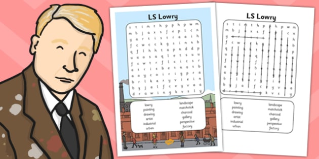 LS Lowry Word Search - wordsearch, l s lowry, lowry, search