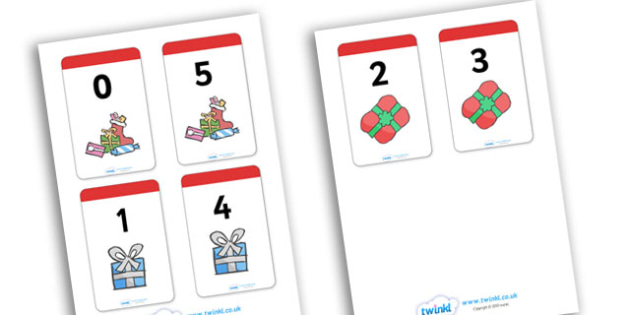 Number Bonds to 5 Present Matching Cards Activity - christmas