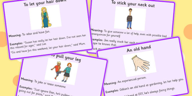 Body Idioms Meaning Cards Set 3 - idioms, body, meaning, cards