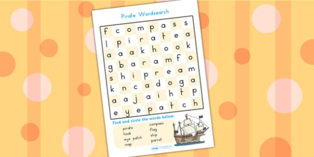 Pirate Wordsearch - pirate, wordsearch, word games, literacy