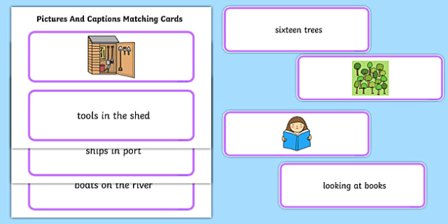 Phase 3 Caption Cards and Picture Matching Activity - phase 3, phase 3 captions, caption cards, matching activity, phase 3 matching