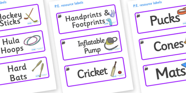 Magical Themed Editable PE Resource Labels - Themed PE label, PE equipment, PE, physical education, PE cupboard, PE, physical development, quoits, cones, bats, balls, Resource Label, Editable Labels, KS1 Labels, Foundation Labels, Foundation Stage La