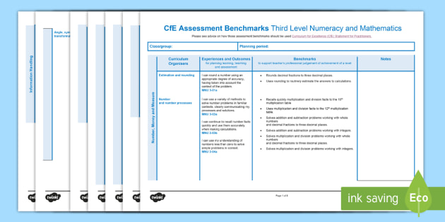 CfE Benchmarks Third Level Numeracy and Mathematics Assessment Tracker-Scottish