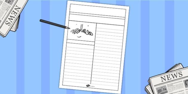 Newspaper Writing Template - writing aid, writing template, literacy