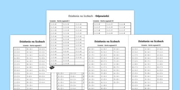 Karta Działania na liczbach po polsku, worksheet