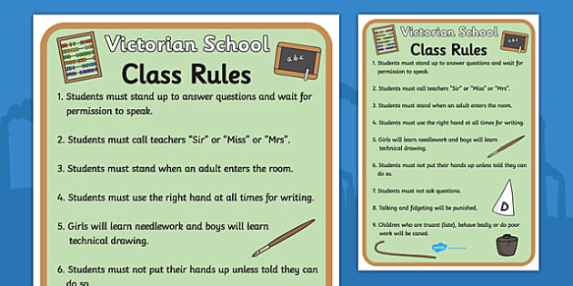 Victorian School Role Play Rules - victorian school, role play, victorian school role play, victorian school rules, victorian school role play rules