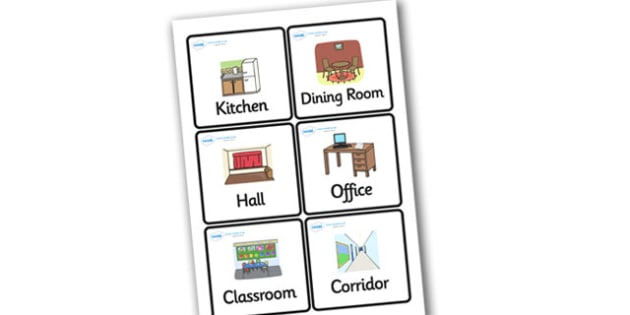 Indoor Places and Rooms Word Cards - places, cards, game cards, 4 per A4, games, activities, different places, word recognition, cards about places, cards showing places