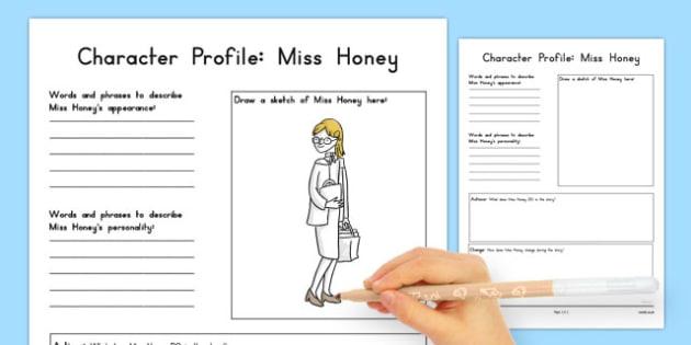 Miss Honey Character Profile Worksheet to Support Teaching on Matilda - australia, matilda