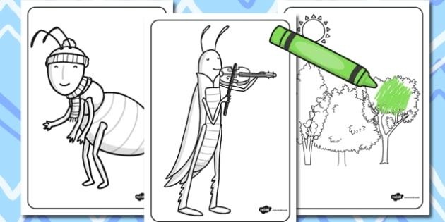 The Ant and the Grasshopper Colouring Sheets - ant, colour, sheet