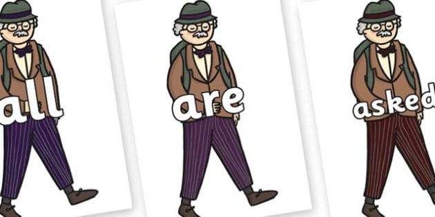 Tricky Words on Beautys Dad Walking - Tricky words, DfES Letters and Sounds, Letters and sounds, display, words