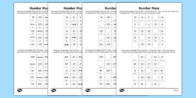 Place Value Number Maze Activity Sheet Pack, worksheet
