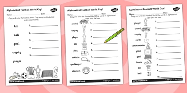Football World Cup Alphabet Ordering Worksheet - football, sport