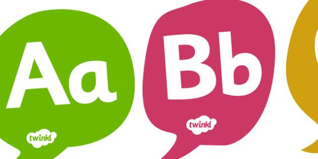 A-Z on Speech Bubbles - Alphabet frieze, Letter posters, Display letters, A-Z letters, Alphabet flashcards