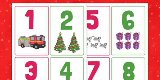Christmas Cat Themed Number Flashcards - christmas cat, cat, christmas, themed, number, flash cards, mog