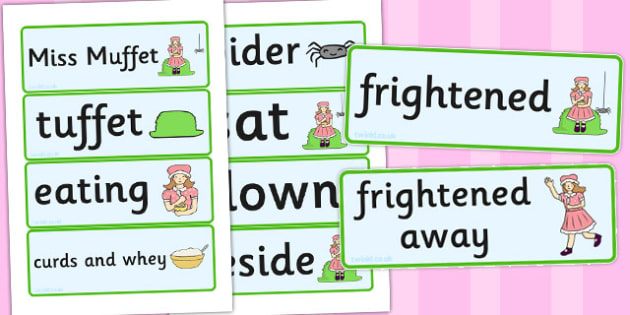 Little Miss Muffet Word Cards - Little Miss Muffet, nursery rhyme, Literacy, word cards, cards, flashcards, rhyme, rhyming, nursery rhyme story, nursery rhymes, Little Miss Muffet resources