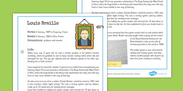 Louis Braille Significant Individual Fact Sheet - information