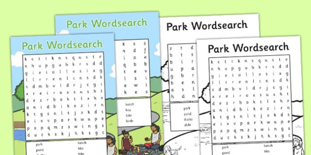 Park Wordsearch - park, wordsearch, word search, eal, search