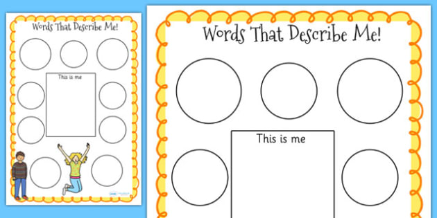 Words that Describe Me Worksheets - ourselves, writing template