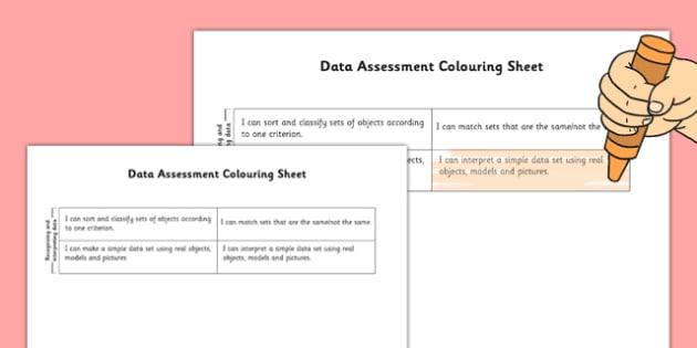1999 Curriculum Junior Infants Data Assessment Group Colouring Sheets - roi, irish, gaeilge, assessment, checklist, maths, junior infants, data