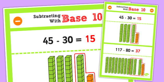 Year 2 Subtracting 2 Digit Numbers and Tens Using Base 10 Poster