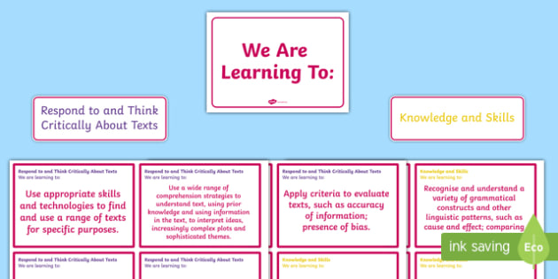 New Zealand Reading End of Year 8 We are Learning Display Pack