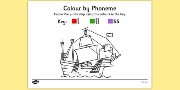 Colour by Phoneme Pirate Ship Phase 2 l ll ss - colour, phonemes, pirate ship, phase 2, satpin