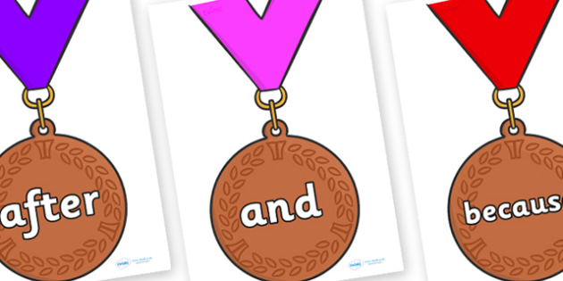 Connectives on Bronze Medals - Connectives, VCOP, connective resources, connectives display words, connective displays