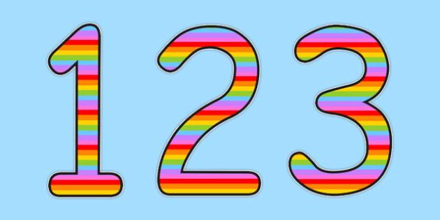 Spanish Display Numbers Multicoloured - spanish, display, numbers