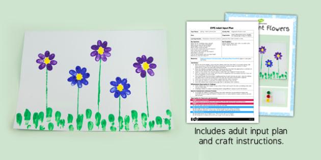 Fingerprint Flowers Craft EYFS Adult Input Plan and Resource Pack - craft
