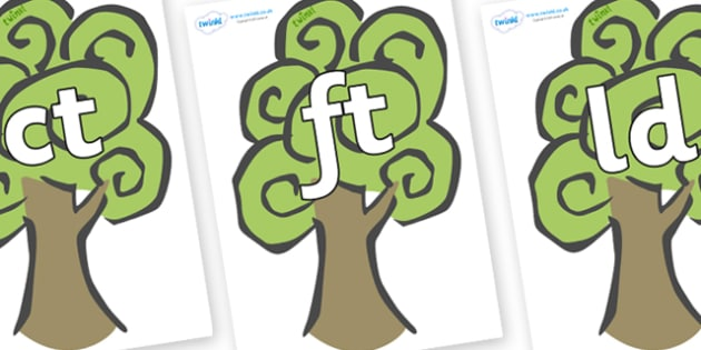 Final Letter Blends on Trees - Final Letters, final letter, letter blend, letter blends, consonant, consonants, digraph, trigraph, literacy, alphabet, letters, foundation stage literacy