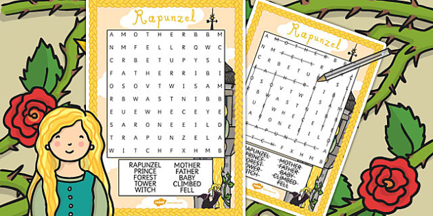 Rapunzel Wordsearch - wordsearch, rapunzel, story, word, activity