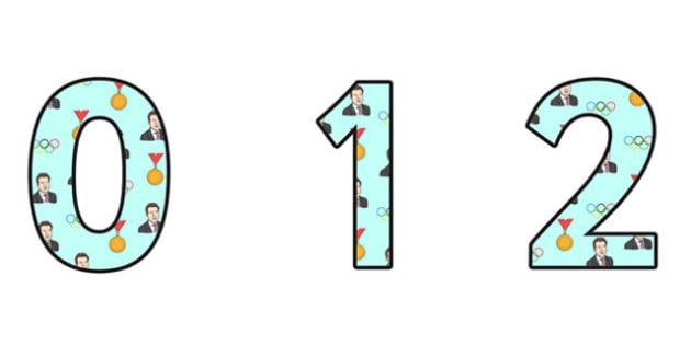 Sebastian Coe Themed A4 Display Numbers - sebastian coe, display numbers, themed number, classroom number, numbers for display, a4 numbers, numbers
