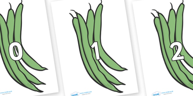 Numbers 0-100 on Green Beans - 0-100, foundation stage numeracy, Number recognition, Number flashcards, counting, number frieze, Display numbers, number posters