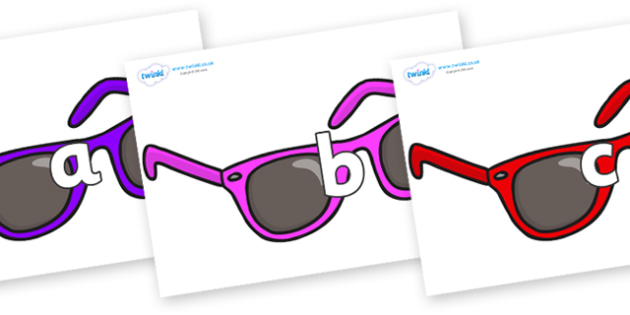 Phase 2 Phonemes on Sunglasses - Phonemes, phoneme, Phase 2, Phase two, Foundation, Literacy, Letters and Sounds, DfES, display
